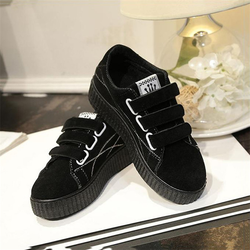 Harajuku Canvas Shoes Platform Streetwear Women Flat Sport Running Sneakers Retro Casual Hook&loop Korean Shoes Female Spring