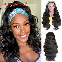 Perruque Body Wave naturelle 100% Remy, cheveux brésiliens, sans colle, avec bandeau, faite Machine, pour femmes africaines