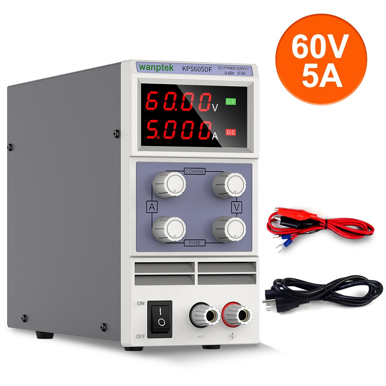 Fuente de alimentación CC estabilizador de laboratorio ajustable, 60V, 5A, regulador de voltaje, conmutación, fuente de Banco Variable, 30V, 10A, wanttek, bricolaje