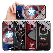 For Samsung Galaxy Note 10 9 8 Note10 Plus Cases Captain America Ironman Panther Patterned Tempered Glass Back Casing Cover(China)