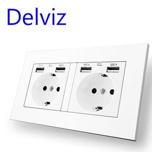 Image 5 - Delviz Standard ue gniazdo USB, podwójne gniazdko, 16A jakość panel zasilania AC 110 ~ 250V 146mm * 86mm, podwójna ramka do obrazu listwa sieciowa USB