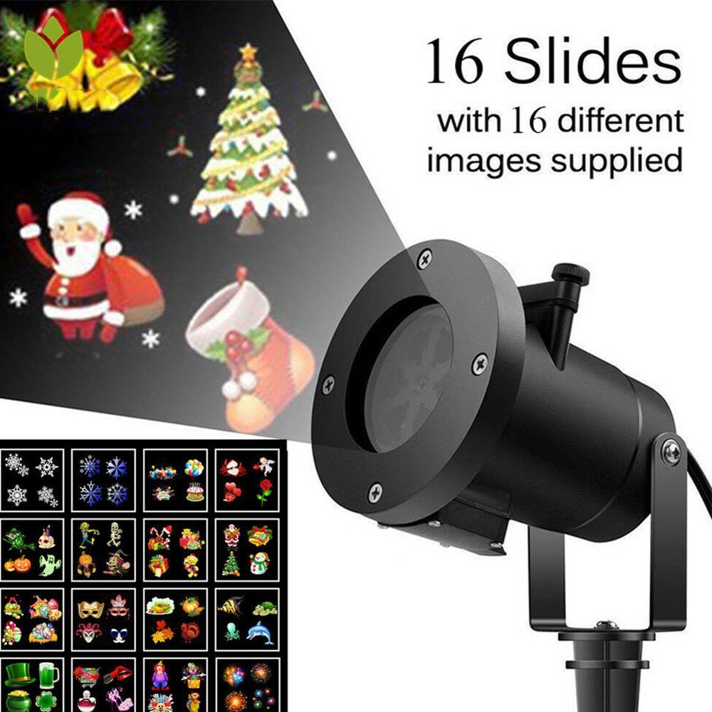 Işıklar ve Aydınlatma'ten Sahne Aydınlatması Efekti'de 16 desenler noel kar tanesi açık LED projektör noel ev partisi dekor LED lazer peri projektör ışık title=