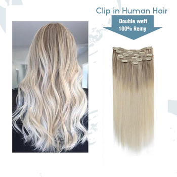 VeSunny Double Weft Clip in Hair Extensions 100% Real Human Hair 7pcs 120gr Clip on Hair Balayage Nordic Blonde full shine clip in human hair extensions balayage ombre color 10pcs 100g double weft 100