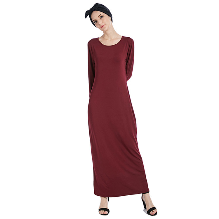 WEPBEL Muslim Abaya Women Long Dress Fashion Simple Solid Color Dress Elastic Ramadan Islamic