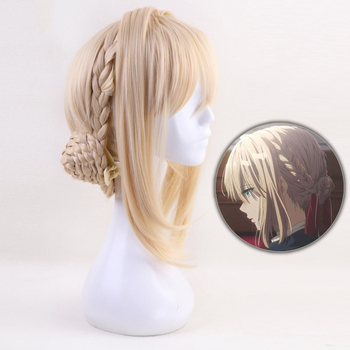 цена на High quality Violet Evergarden Anime Cosplay Wig Women Synthetic Hair Blonde Heat Resistant Costume Party Braided Wigs + Wig Cap