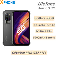 Ulefone zırh 11 5G sağlam telefon 8GB 256GB 6.1 inç Android 10.0 Penta arka kameralar 5200mAh destek 5G OTG NFC kablosuz şarj
