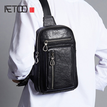 AETOO Leather men's chest bag, stylish personality stiletto bag, head leather casual sports shoulder bag aetoo leather men s chest bag head leather fashion casual shoulder bag trendmen s stiletto bag