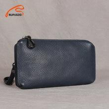 Casual kopertówka męska skórzany portfel przy telefonie małe portmonetki posiadacz karty kredytowej niebieski biznes małe worki na pieniądze NUPUGOO