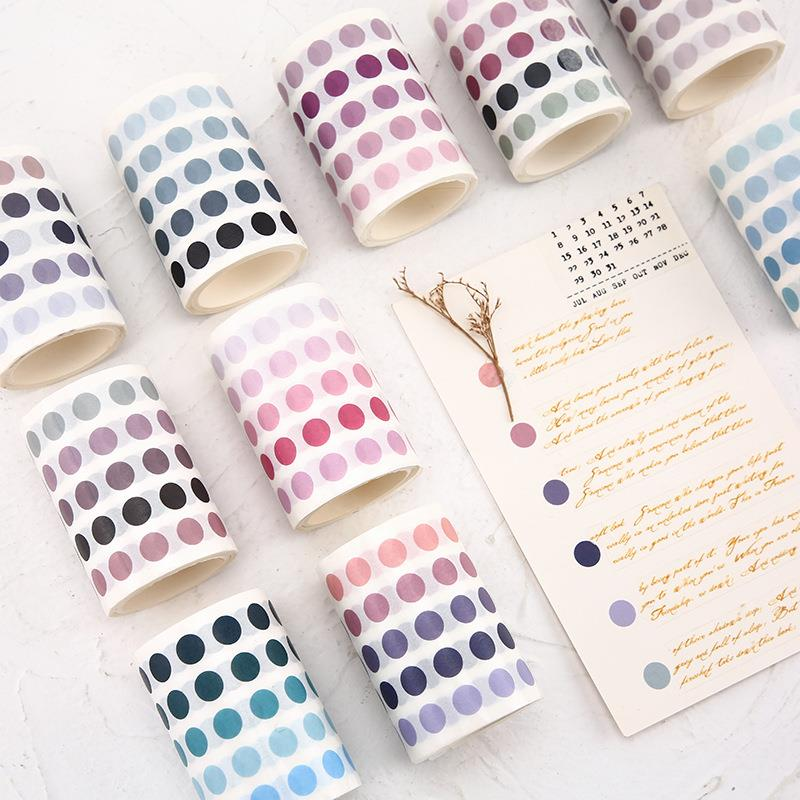 1 Pcs Dot Washi Tape Basic Masking Tape Colorful Round Adhesive Tape DIY Scrapbooking Bullet Journal School Stationery