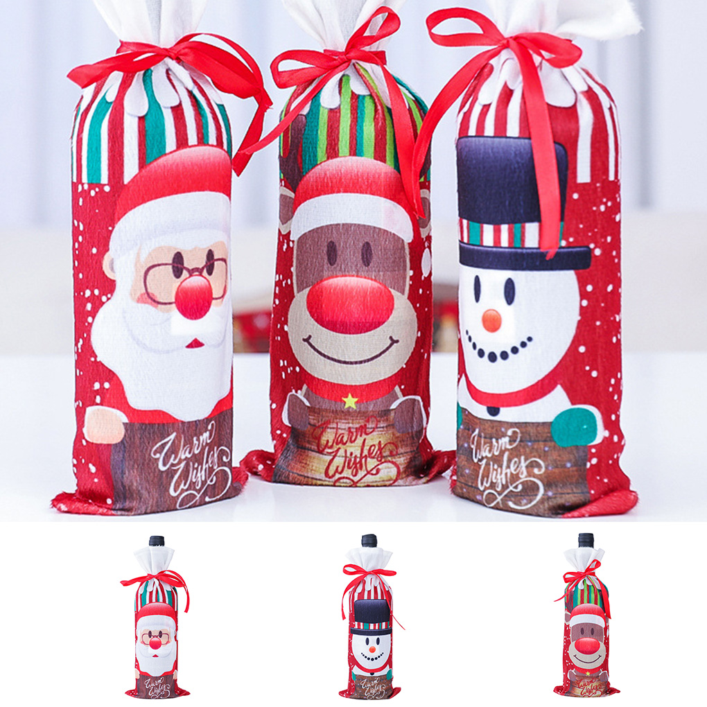 2019 New Wine Champagne Bottle Cover Cloth Cartoon Snowman Old Man Home Party Drawstring Pouch Christmas Decor
