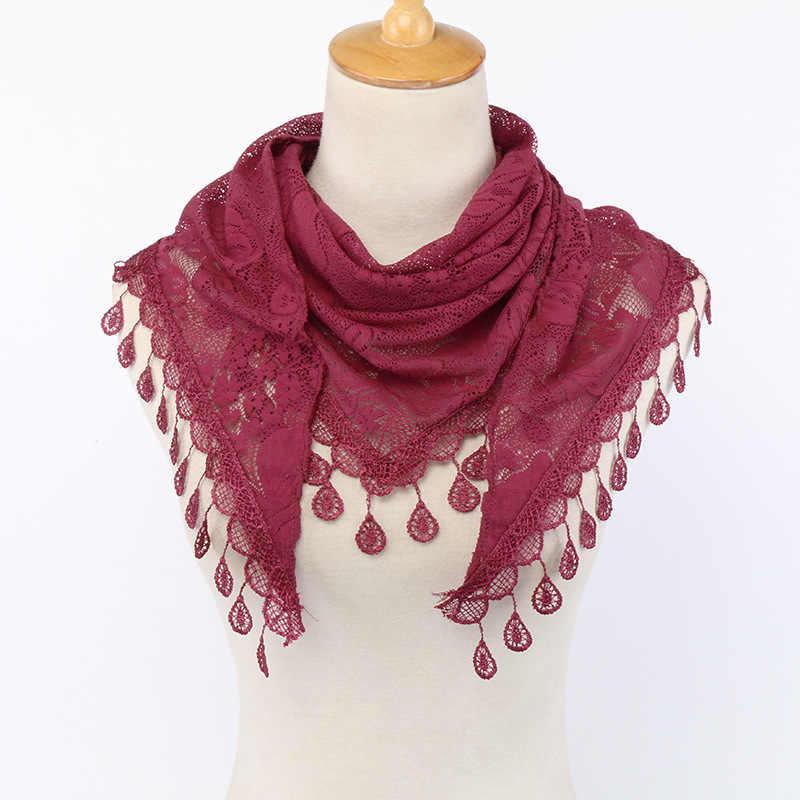 Bufanda triangular lisa de encaje Floral de retazos para mujer chales finos suaves y envolturas de playa de verano Pashmina estola musulmán Hijab 150*50Cm