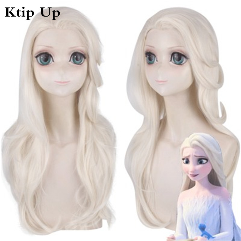Princess Elsa Cosplay Wigs Snow Ice Queen Long Light Yellow Synthetic Wavy Hair Wig Party Costume Wig Anime+Wig Cap