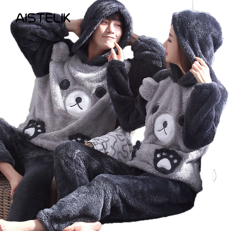 New Autumn And Winter Thick Plush Lovers Set Pajamas Cute Cartoon Long-sleeved Flannel Home Service Set High-end