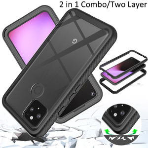 Image 1 - Combo Valweerstand Rugged Case Voor Google Pixel 5 Defender Armor Shield Anti Skid Crystal Clear Cover