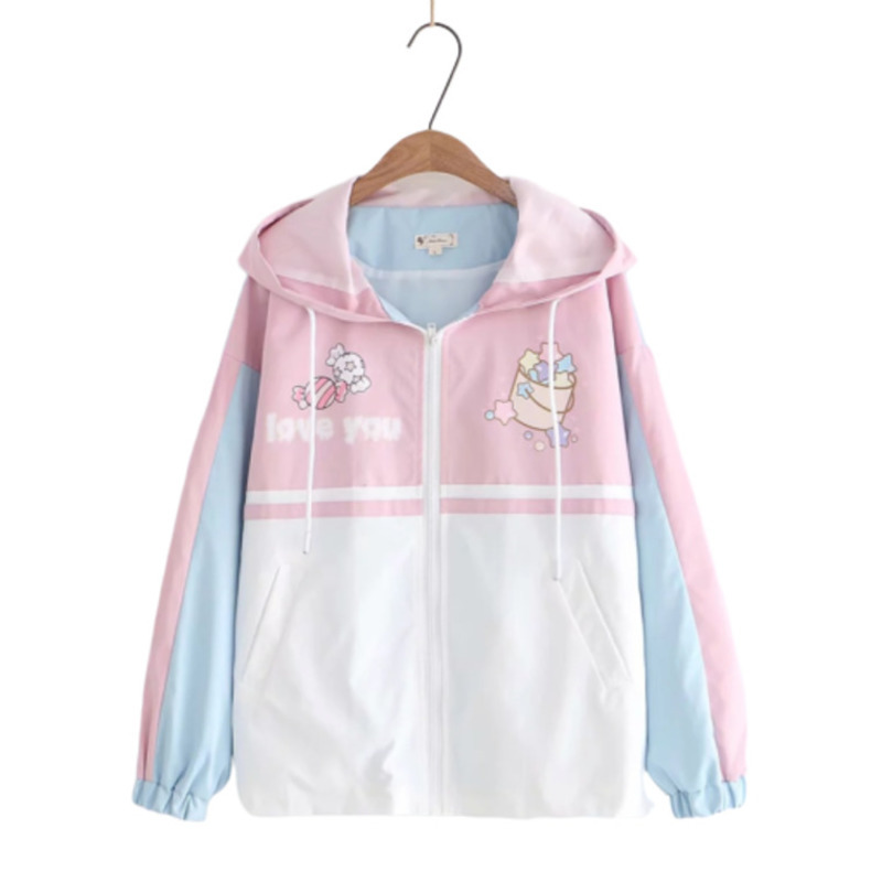 2019 Autumn Cartoon Stars Printing Loose Coat Sweet Sweatshirt Hoodies Women Moletom Feminino Aesthetic Kawaii Pink Hoodie