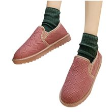 Keep Warm Shallow Snow Boot Women Short Tube Plus Velvet Thick Cotton Shoe woman Solid Color Non-slip Flat Student Bread Shoe(China)