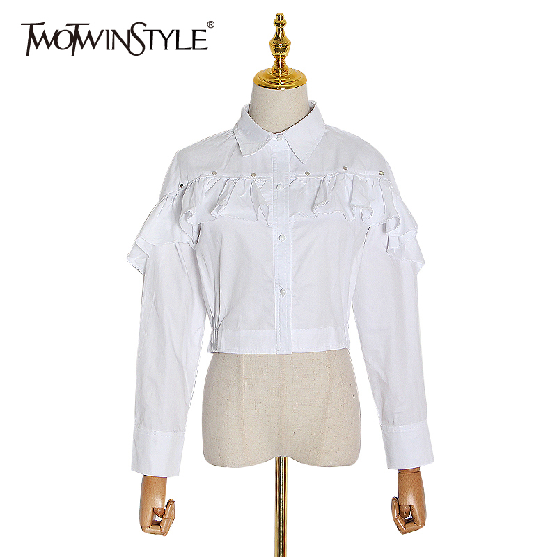TWOTWINSTYLE Casual Solid White Women Blouse Lapel Long Sleeve Patchwork Ruffles Pleated Short Women Shirt Clothing Fashion Tide