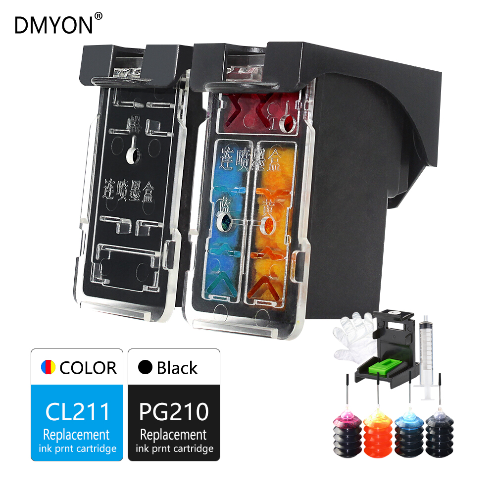 DMYON Refillable Ink Cartridge PG210 CL211 FOR CANON IP2700 IP2702 MP240 MP250 MP260 MP270 MP280 MP480