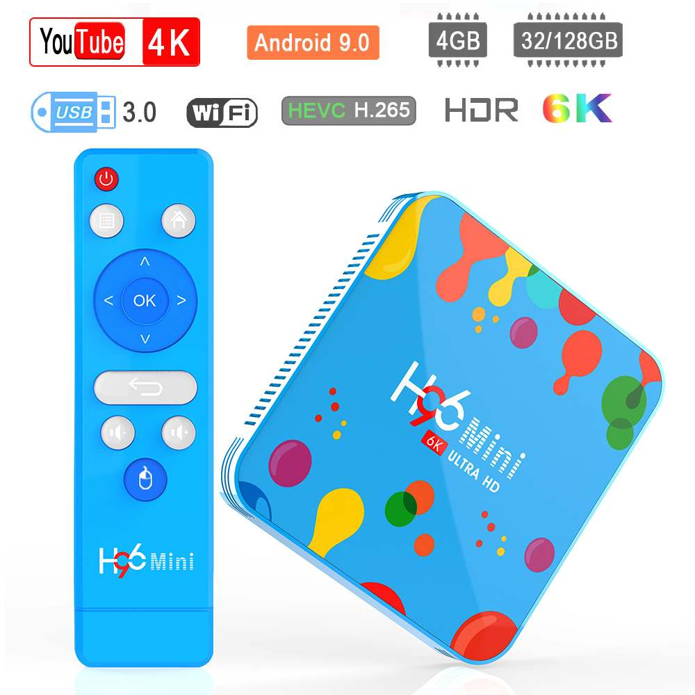 H96 Mini Smart Android TV Box 4GB RAM 128GB ROM Allwinner H6 5G WIFI 4K 6K bluetooth 4.0 Android 9.0 décodeur pour Youtube