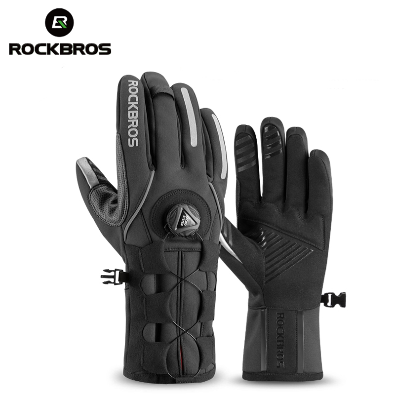 ROCKBROS MTB Winter Gloves For Bicycle Touch Screen Adjustable Winter Warm Fleece Gloves Bike Windproof Ski Sport Mens Gloves