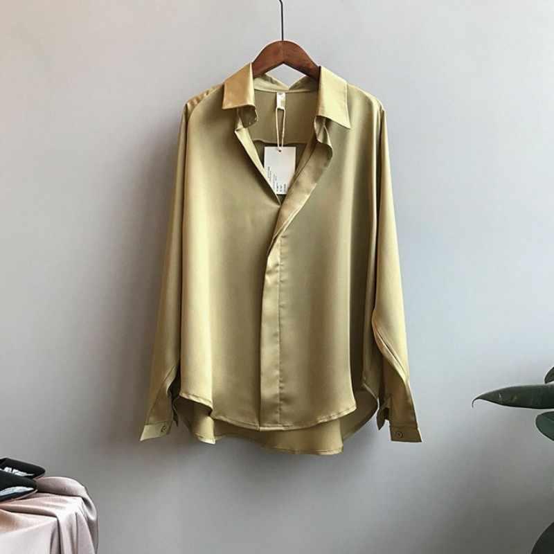Oversize luźne koreańskie damskie fałszywe satyna jedwabna koszule moda w stylu Vintage z długim rękawem pokryte klapy na guziki biurowa, damska koszula z szyfonu