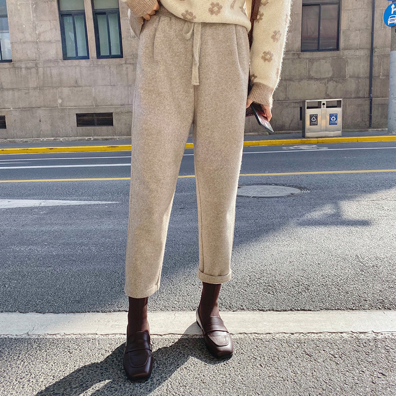 MISHOW Winter Women Casual Woolen Pants Korean Loose High Waist Solid Color Elastic Waist Pocket Pant MX19D2137|Pants & Capris| - AliExpress