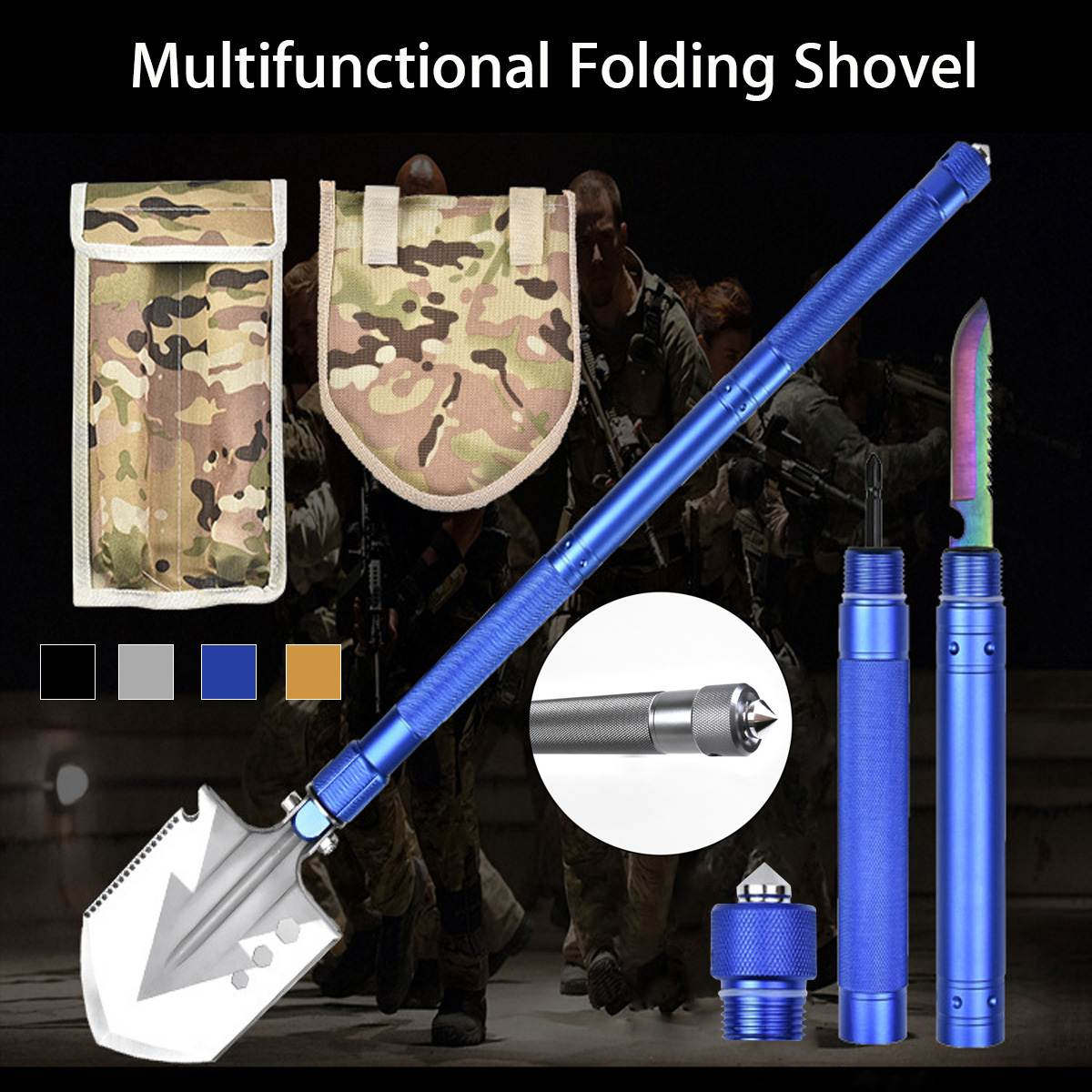 Multifunctional Military Tactical Folding Shovel Outdoor Camping Portable Survival Emergency Hand Tools Set