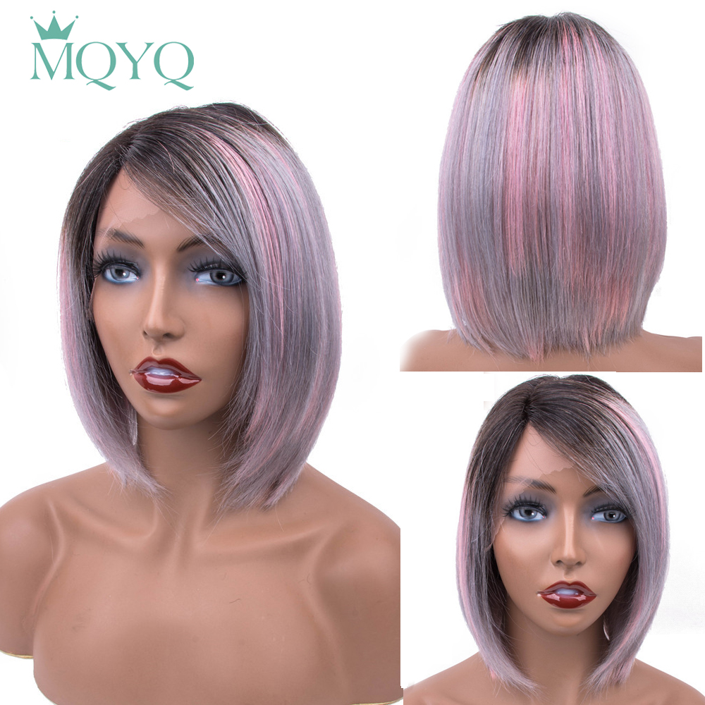 MQYQ Short Lace Frontal Human Hair Bob Wigs Pre Plucked Non Remy Lace Part Wig Ombre TB/Grey/Pink Brazilian Hair Natural Line