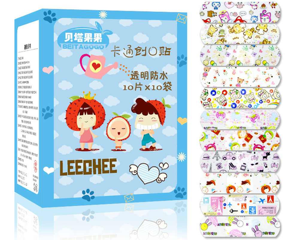 Lovely 100PCS Waterproof Breathable Cute Cartoon Band Aid Hemostasis Adhesive Bandages First Aid Emergency Kit For Kids Children