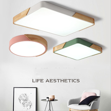 New Nordic  Led Ceiling Light Lamp For Living Room Light  Square Solid Wood Home  lamp For Bedroom Dining Room  Light Fixture