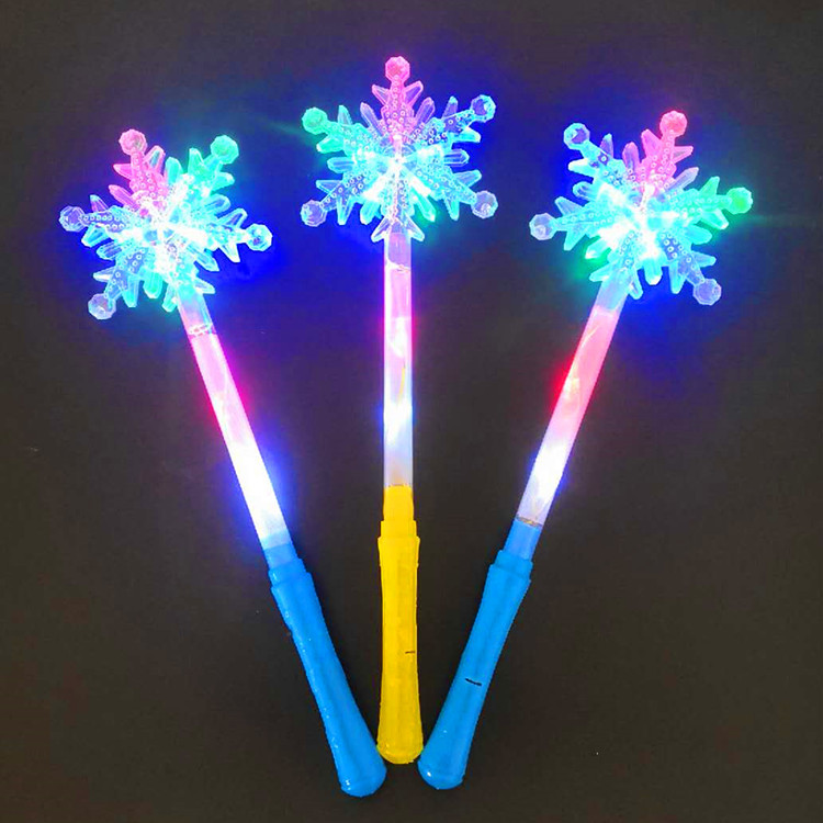 Concert Fans Interactive Props Colorful Shining Snowflake Stick Amusement Park Christmas Props Flash Snowflake Stick