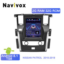 Navivox vertical Tesla screen Android 8.1 Car Multimedia Player For NISSAN PATROL 2010-2018 GPS Audio Radio stereo Map head unit(China)