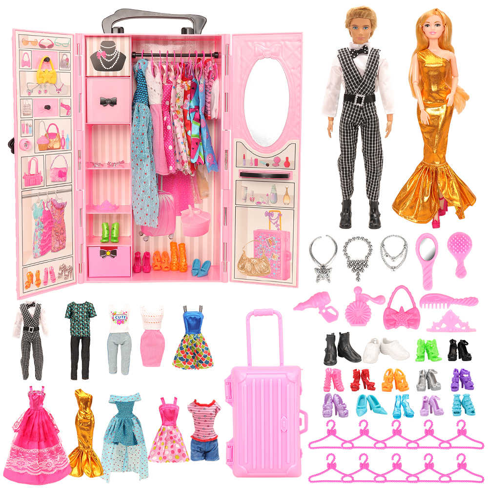 44 Items Lot Bedroom Furniture Kids Toys Dollhouse Accessory 1 Wardrobe 43 Dolls Accessories Clothes For Barbie Ken Doll Game Aliexpress