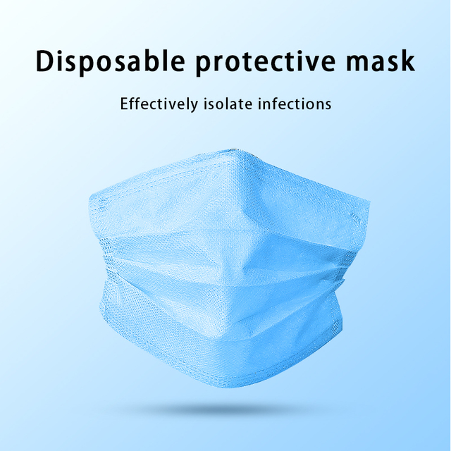 200pcs Certification Disposable mask 3-Layer Non-woven Disposable Soft Breathable Flu Hygiene Face Mask Features as 2