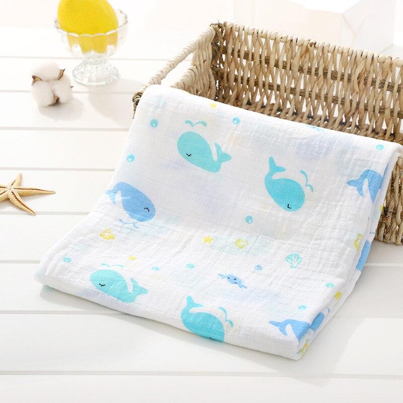 1 шт., муслин, хлопок, детские пеленки, мягкие одеяла для новорожденных, для ванной, марля, Детская накидка, спальный мешок, чехол для коляски, игровой коврик - Цвет: Whale