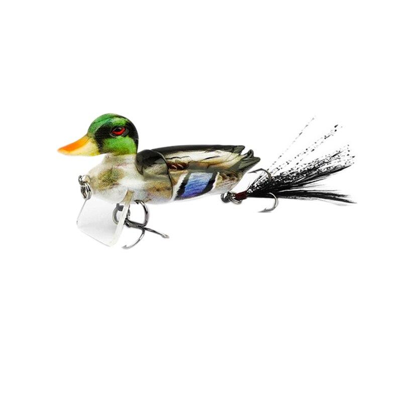 1Pc 7Cm Angeln Lockt Köder Schwimm 3D Topwater Ente Swimbait mit Haken Multi 2 Abschnitt Jointed Bass Wobbler angeln Locken-in Angelköder aus Sport und Unterhaltung bei title=