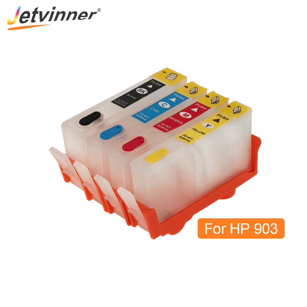 Jetvinner For HP903 <font><b>HP</b></font> <font><b>903</b></font> <font><b>Refillable</b></font> Ink Cartridge With ARC chips For <font><b>HP</b></font> OfficeJet Pro 6950 6951 6954 6961 6962 6970 Printers image