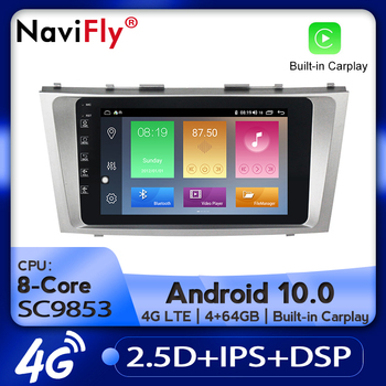 NaviFly Car Radio Multimedia video player GPS navigation Android 10.0 4GB+64GB For Toyota Camry 6 XV 40 50 2006 - 2011 image