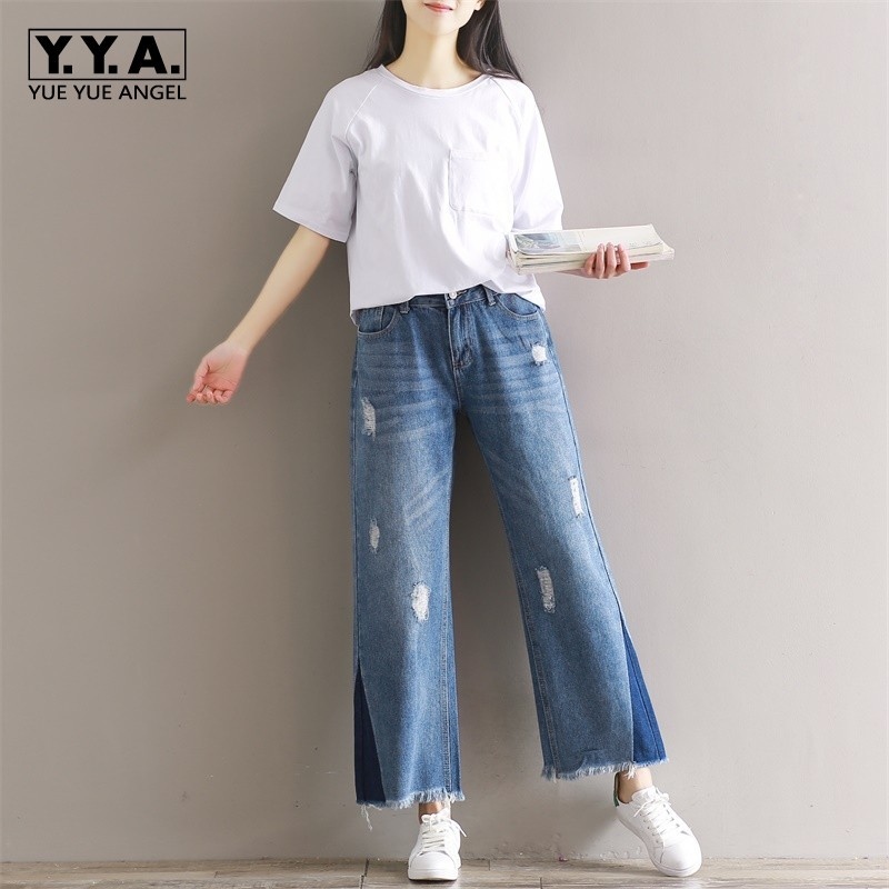 2020 Spring Korean Washed Jeans For Women Tassel Loose Wide Leg Pants Patchwork Hole Ripped Plus Size Boyfriend Jeans Trousers
