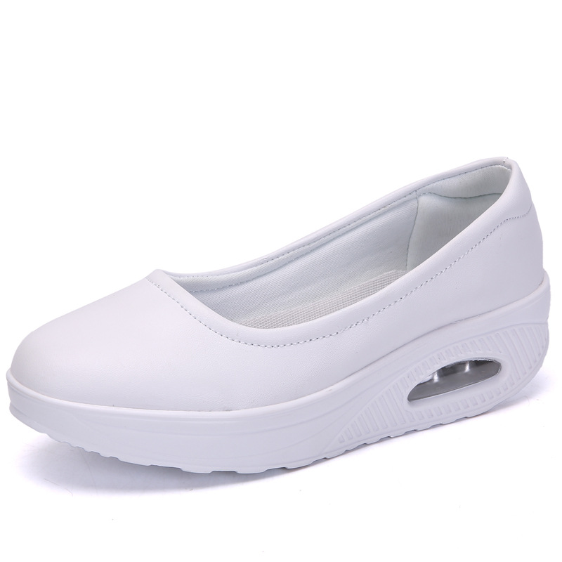 Amazon Wish Foreign Trade Plus-sized Rocking Shoes WOMEN'S Air Cushion Shoes Elevator Slanted Heel Nurse Shoes Casual Shoes Slip image