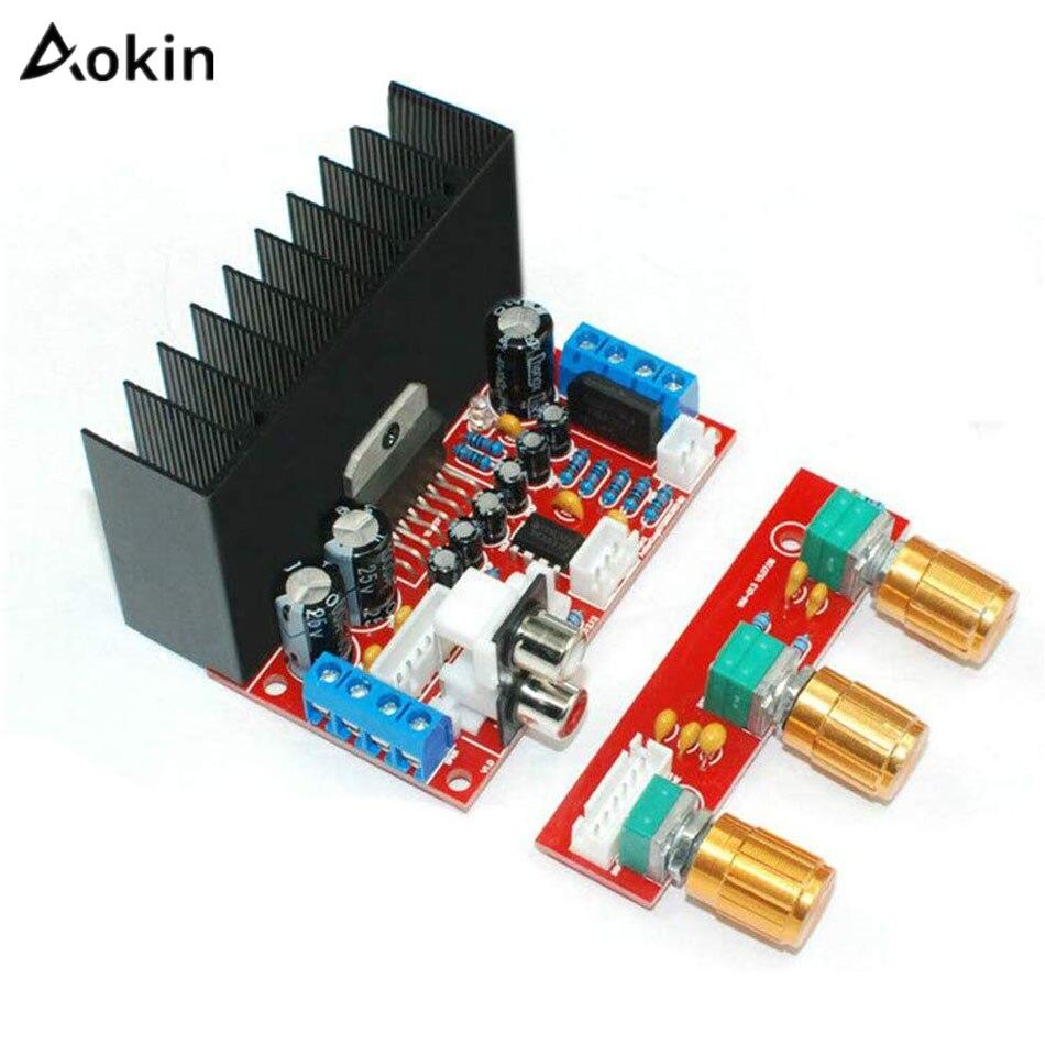 Aokin TDA7377 аудио усилитель плата одномощный компьютер супер бас 2,1 усилитель плата 3-канальный звуковой усилитель DIY Набор