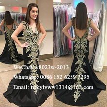 Chic 3D-Floral Appliques Mermaid Prom Dresses 2020 Backless Deep V Neck Vestido De Festa Formal Evening Dress Party Gown(China)