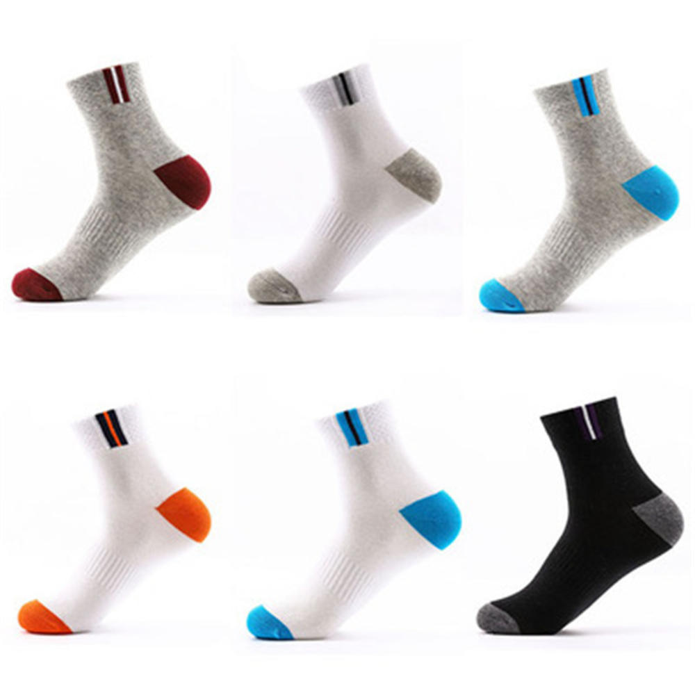 1Pair Men's Sports Socks Autumn And Winter Sweat-absorbent Deodorant Sports Socks Men's Cotton Casual Middle Tube Striped Socks