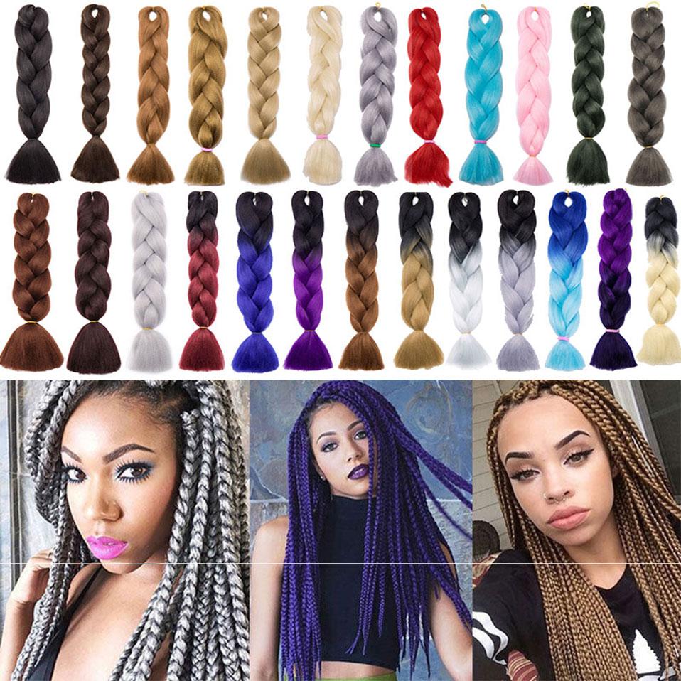 S-noilite 3pcs/lot 24'' Jumbo Braids Bulk Synthetic Hair African Braiding Hair Style Crochet Hair Extensions 2 3 Tone