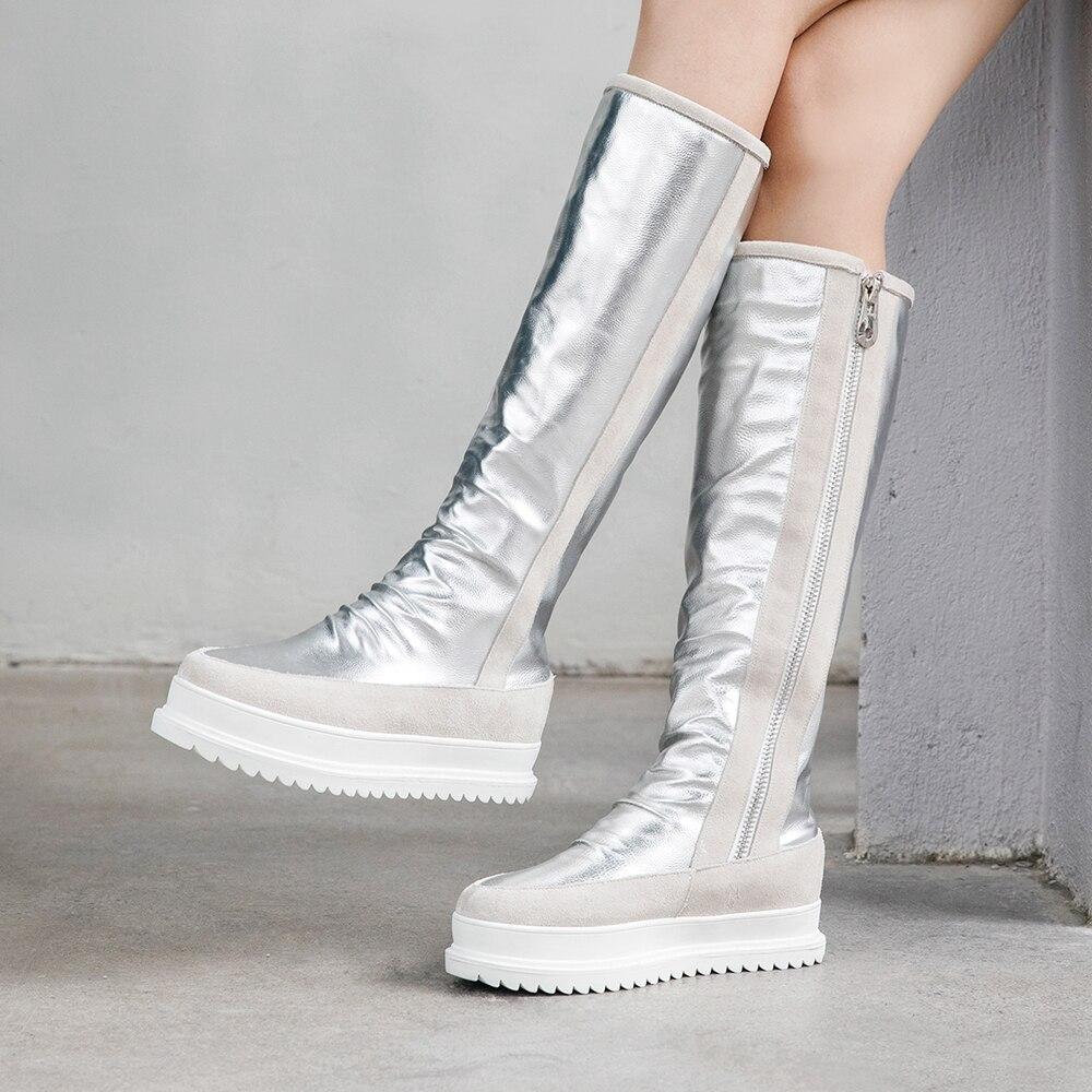 Grande taille 34 43 en cuir véritable femmes bottes d'hiver chaud en peluche fourrure bottes de neige femmes fermetures à glissière plate forme Botas Mujer chaussures de neige bottes - 4