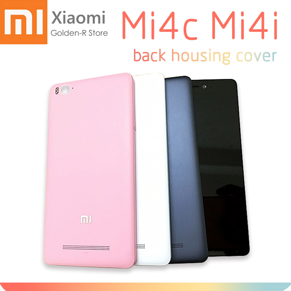 Battery Back Cover For Xiaomi MI4I MI4C MI 4I 4C Rear Housing Door Case With Flash Replacement Parts + Side Button