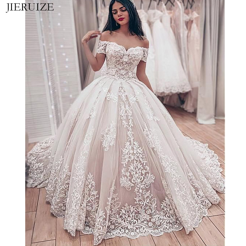 JIERUIZE Lace Appliques Luxury Wedding Dresses Sweetheart Off The Shoulder Ball Gown  Bride Dresses Wedding Gowns