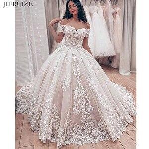 Image 1 - JIERUIZE robe de mariée en dentelle, robes de mariage luxueuses, avec des épaules dénudées, en amoureux