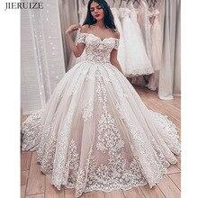 JIERUIZE תחרה אפליקציות יוקרה חתונת שמלות מתוקה כבוי כתף כדור שמלת כלה שמלות כלה שמלות