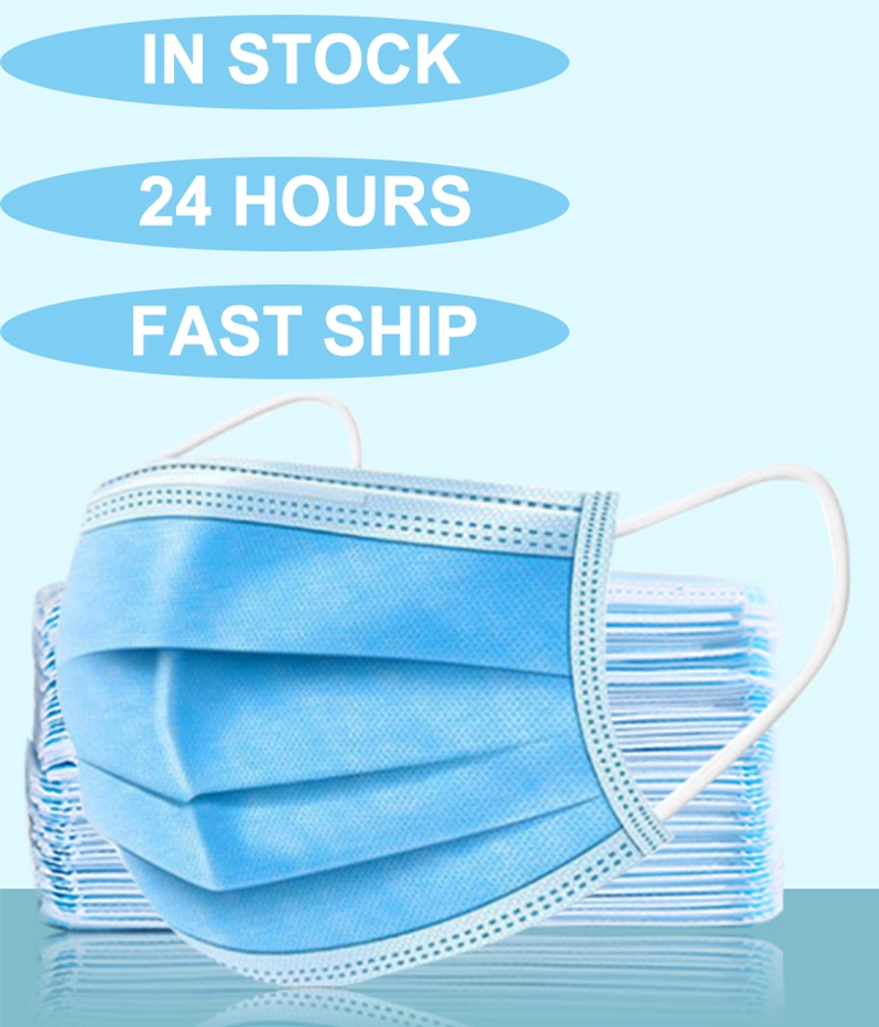 Disposable Masks 3 Layers Protective Mask for the Face Mouth Cover Meltblown Filter Mouthmask Respirator Flu Facial MasksMens Masks   -